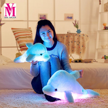 1PCS 45CM/70CM Led Light Pillow Cute Animal Dolphin Luminous Pillow Cartoon Plush Toy Children Birthday Xmas Gift(China)
