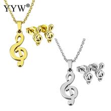 YYW Gold-color Chain Choker Necklace Stainless Steel Jewelry Sets Music Musical Note Stud Earring Pendant Necklace Sets Woman
