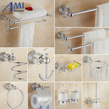64 Crystal Series  Chrome Polish Brass & Crystal Wall Mounted Bathroom Handware Towel Rack Hook Paper Holder Soap Dish