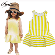 Fashion Toddler Girl Dresses Sleeveless Yellow Vertical Stripe Cotton Dress Summer 2017 New Baby Clothes