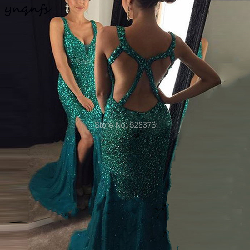 YNQNFS ED199 Vestido de Festa Longo de luxo Cross Back Elegant Crystal Dress Front Open High Slit Bridesmaid Dresses Teal 2019