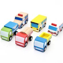 New Arrival Baby Wooden Toys Mini Pull back Vehicle Toys Set Bus/Truck/Tank Lorry/Express Delivery/Police Car Educational Gift(China)