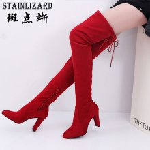 STAINLIZARD Flock Boots Shoes Women High Heels Winter Fashion Over-the-Knee Female Boots Footwear Women Shoes Side Zip HDT1049(China)