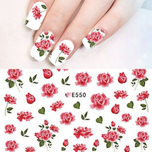 1 Sheet Red Floral Flower 3d Adhesive Nail Stickers Super Thins Bloomy Rose Nail Art Decals Beauty Tips Decoration BEE550(China)