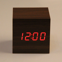 Wooden Cube LED Alarm Clock Sounds Control With Temperature Display Electronic Digital Desktop Table Clocks Red LED(China)