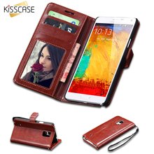 KISSCASE Vintage Crazy Horse Skins PU Leather Case For Samsung Galaxy Note 4 N9100 Stand Card Slots Wallet Cover Note 4 Cases