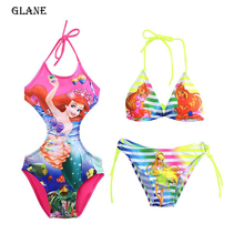 2-10T Mermaid Girl Kids Swimsuit Cartoon Bathing Suit Print Children Swimwear Bikini Tankini Baby Girl Summer Swimming Costume
