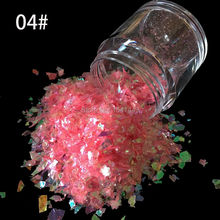 10g/bottle Nail Art Ice Mylar Shell Glitter Power Foil Paper Light pink  Nail Art Decoration Tools SG-04