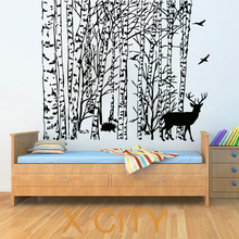 Winter Tree Wall Stickers Bird Deer Decal Vinyl Bathroom Kitchen Window Baby Nursery Bedroom Home Decor Art Murals(China)