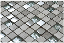 Modern Light Grey Wooden Stone mixed Metal Crystal Glass Mosaic tiles for kitchen backsplash Bathrrom Shower Wall sticker Floor(China)