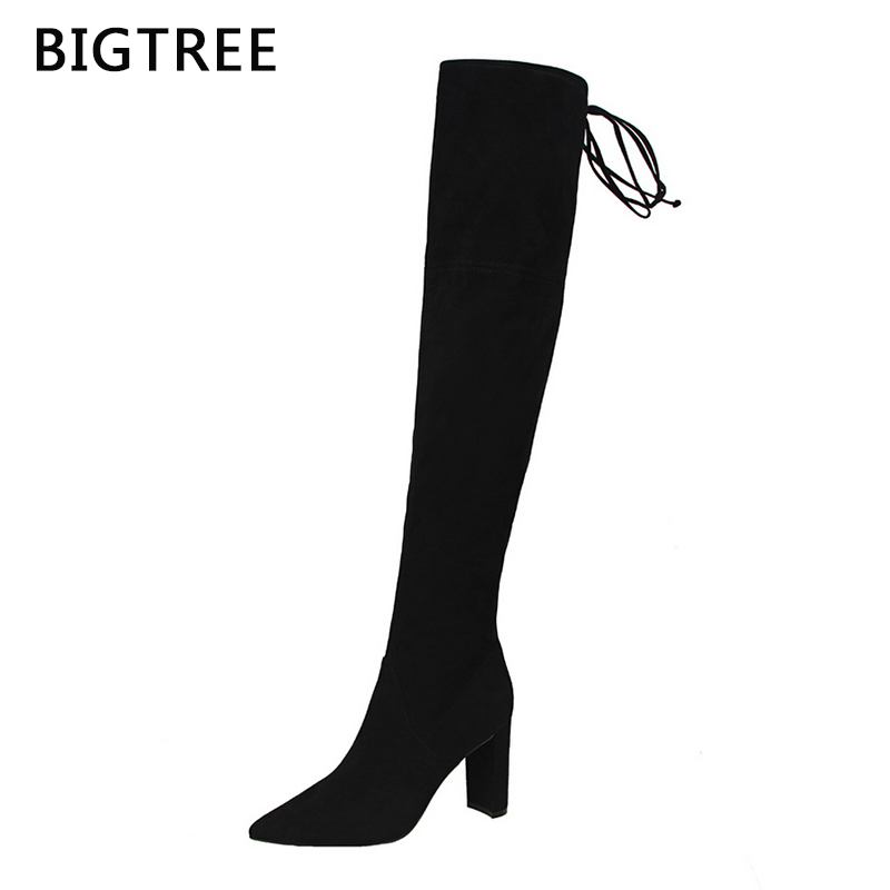 Size34-39 Brand Over Knee Sexy Was Thin Elasticity Long Tube Boots Butterfly-knot Pointed Toe Womens Long Boots<br>