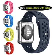 Rubber link for Apple Watch Band 38mm Silicon Sports Wrist Strap Replacement for Apple Watch Band 42 mm