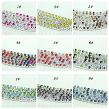 Mix colors rhinestone chains 10yards/lot boutique ss12(3mm) fashion findings multi color copper close silver base glitter Diy(China)