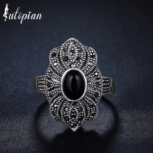Iutopian Brand New Arrival Palace National Retro Ring with 3 Colors  Stone Hollow Lace for Women #G3325black