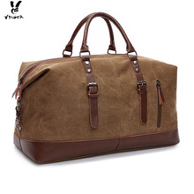 Vbiger Unisex Canvas Travel Bag Large-capacity Duffel Travel Shoulder Bag Men Carry on Luggage Bags Tote Large Bag Overnight(China)