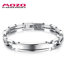 MOZO FASHION Male Stainless Steel Bracelets Bangles Simple Hand Chain Bracelet Cool Men Punk Jewelry 3 Colors Drop Ship MGS829