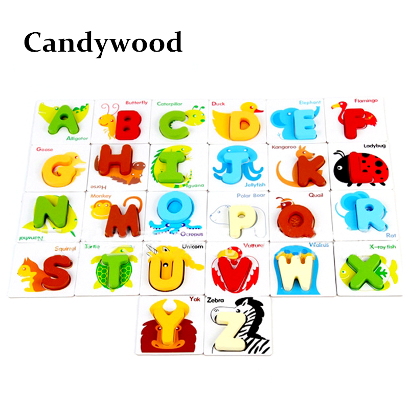 Kids Wooden Toys Children Early Educational Intelligence Animal Letter Puzzles Cognitive Alphabet Toy For Baby Gift<br>