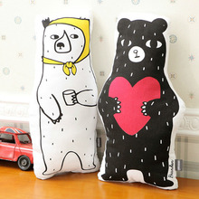 Giant Cartoon Bear Pillow Stuffed Plush Toys Cotton 3D White And Black Bear Animals Decorative Cushion For Sofa Car Home Gift(China)