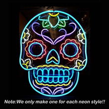 Tattoo Skull Neon Sign Skull Beer Pub Neon Bulbs Room Recreation Windows Neon Signs Real Glass Tube Handcraft Best Gifts VD24x20