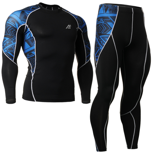 All-in-One Compression Base Layer T Shirt printed Men Long Sleeve Fitness Set quality Gym Running Tights Plus Size size s-4xl<br><br>Aliexpress