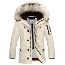 2017 Winter New Men's Down Jacket Fashion Casual Hooded Thick Warm Long Coat Fur Collar Jacket(China)