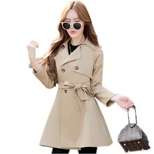 Double Breasted Long Trench Coat Women 2017 New Spring Autumn Fashion Belt Cloak Polerones Mujer Windbreaker Female Abrigos C238(China)