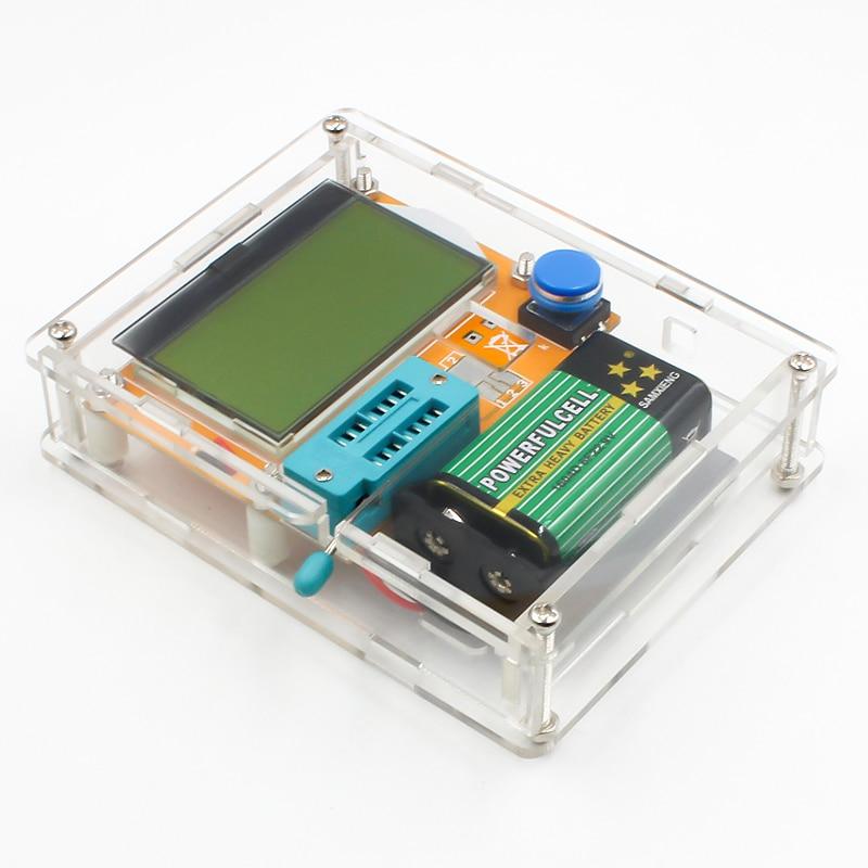 16 Latest LCR-T4 ESR Meter Transistor Tester Diode Triode Capacitance Mos Mega328 Transistor Tester + CASE (not Battery ) 6