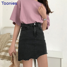 Buy 2018 Summer New Fashion Faldas Mujer High Waist Black Skirts Womens Irregular Bottom Denim Skirt Women A-Line Slim Mini Skirt for $17.34 in AliExpress store