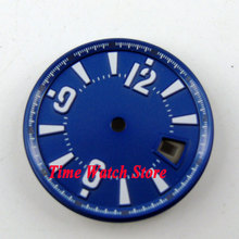31.5mm blue sterial dial white marks date window Watch Dial for ETA 2836 Mingzhu 2813 4813 Movement D44