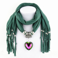 Fashion Jewelry Pendent Colorful Glass Heart Scarf Necklace Women Autumn Winter Ladies Jewelry Ring Scarf Tassel Beaded Scarves
