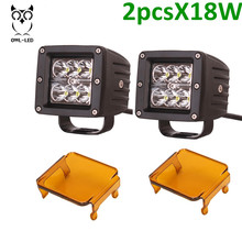 2pcs Square China manufacturer mini car lamp 18W led front head bumper light for 4x4 off road car lights led