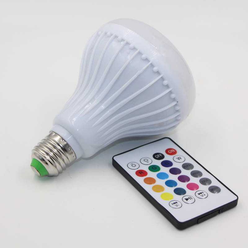 Wireless Bluetooth Speaker + E27 rgb LED bulb Lamp AC 110V 220V Smart Dimmable spot Light Music Player Audio + Remote Control<br><br>Aliexpress
