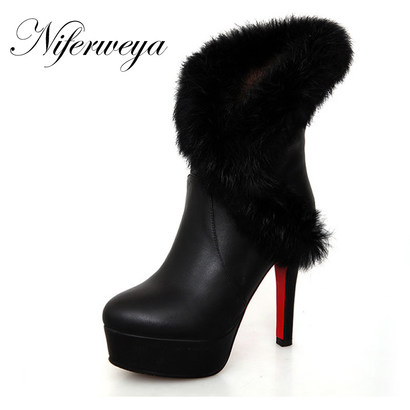 2016 New fashion winter women shoes sexy white Platform high heels solid PU leather warm Slip-On Mid-Calf short boots 106<br><br>Aliexpress