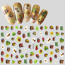 Hot Fashion 1 Sheet Mixed Insect/Leaves Cartoon Style Nail 3D Decal For Nail DIY Manicure Beauty Tips Sticker Tools BEF203(China)