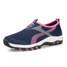 Summer Adults Women's Outdoor Breathable Mesh Sports Sneakers Slip On Walking Running Trainers Jogging Flats Shoes(China)