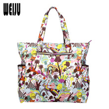 WEIJU 2017 New Flower Printing Women Handbag Shoulder Beach Bag Nylon Waterproof Large Capacity Casual Bags Tote Bolsos
