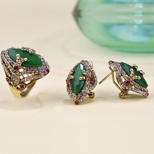 Dubai Jewelry Sets Earrings & Ring Gold color Green Rhinestone Brincos Stud Earrings Crystal Aros Bridal Wedding Schmuck Sets