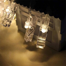 5PC * 10 LED Clamp Hollow String Lights for bedroom Outdoor Christmas Party Pictures Decor Lamp Wedding christmas decoration(China)