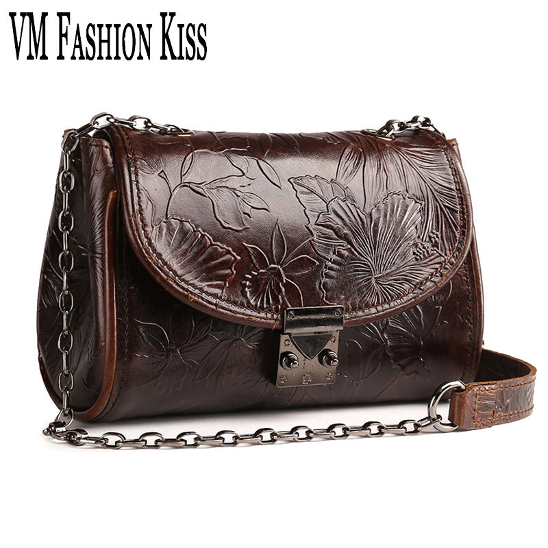 VM FASHION KISS Women Retro Genuine Leather Embossed Mini Chain Shoulder Bag High Quality Leather Messenger Bag Crossbody Female<br>
