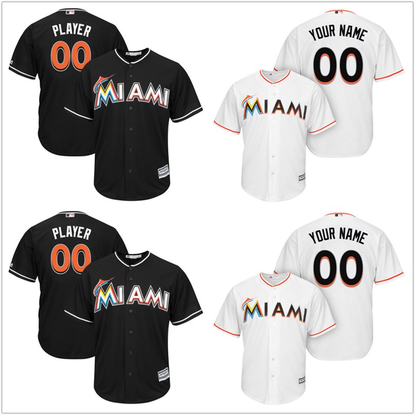Men's Miami Marlins White Cool Base Custom Jersey(China (Mainland))