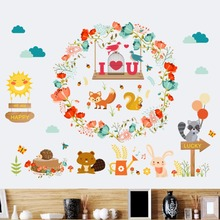 Cartoon Animals Bird Cage Flowers Wreath Wall Stickers Happy Forest Wall Decals Kids Infant Room Window Glass Cabinet Wallpaper