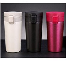Fashion Double Wall Stainless Steel Vacuum Flasks 380ml Bounce Cover Coffee Thermos Mug Travel Thermol Bottle Thermocup(China)
