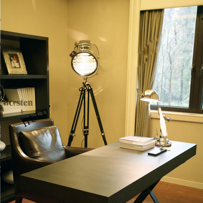 Industrial Bar Nordic American Creative Studio Silver Golden Floor Lights Tripod Searchlight Floor Lamps E27 (5)