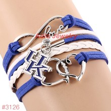 Infinity Love Kentucky Wildcats College Football Team Bracelet 2016 New Leather Bracelet Fans Jewelry 6Pcs/Lot ! Free Shipping!