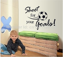 "football with English famous quote ""shoot for your goal""   Vinyl Wall Art Decals Sticker Decor"