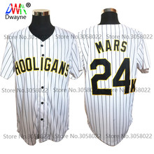 Bruno Mars 24K Hooligans White #20 Pinstriped BET Awards Baseball Jersey Throwback For Men Stripe Stitched Button Down Glod Edge(China)
