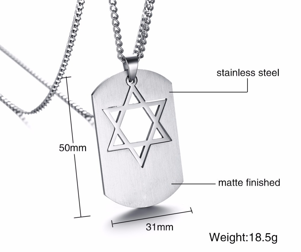 Israel Symbol Star of David Dog Tag Pendant Necklace for Men Jewelry silver 14