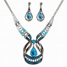 6sets/lot Jewelry wholesale Trendy Blue Crystal Jewelry Sets For Women Engagement Water Drop necklaces & pendants Earrings