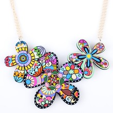 Buy Newei Flower Necklace Pendant Acrylic Pattern New Fashion Statement Jewelry Women Girl Choker Collar Charm Accessories for $3.95 in AliExpress store