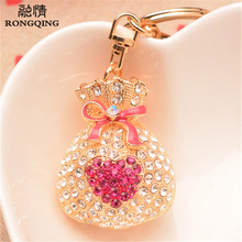 RONGQING Fashion Nobby Rhinestone Lucky Bag Pendent Keychains Retro Mascot Lucky Bags Key Rings for Women Birthday Gift Idea